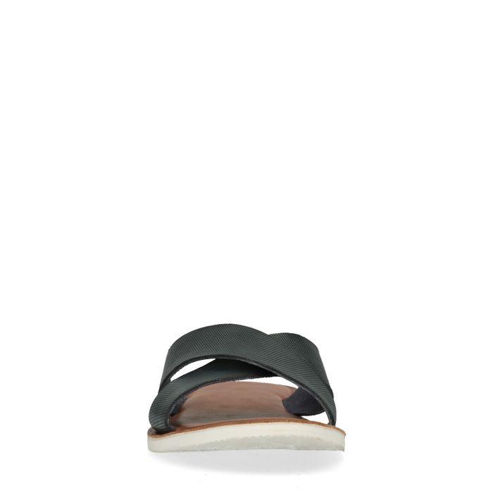 Dunkelblaue Leder-Sandalen