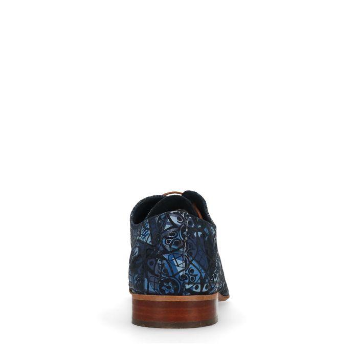 Dunkelblaue Schnürschuhe mit Muster