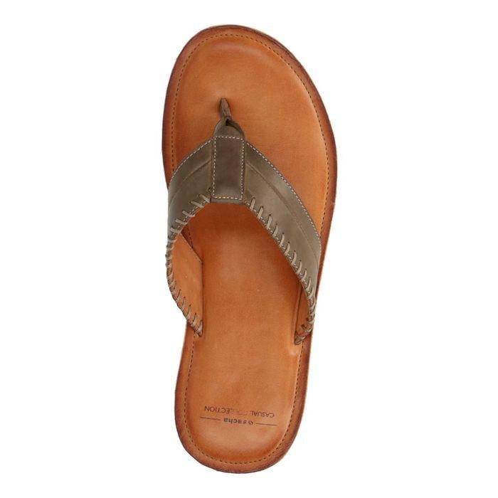 Taupefarbene Leder-Sandalen