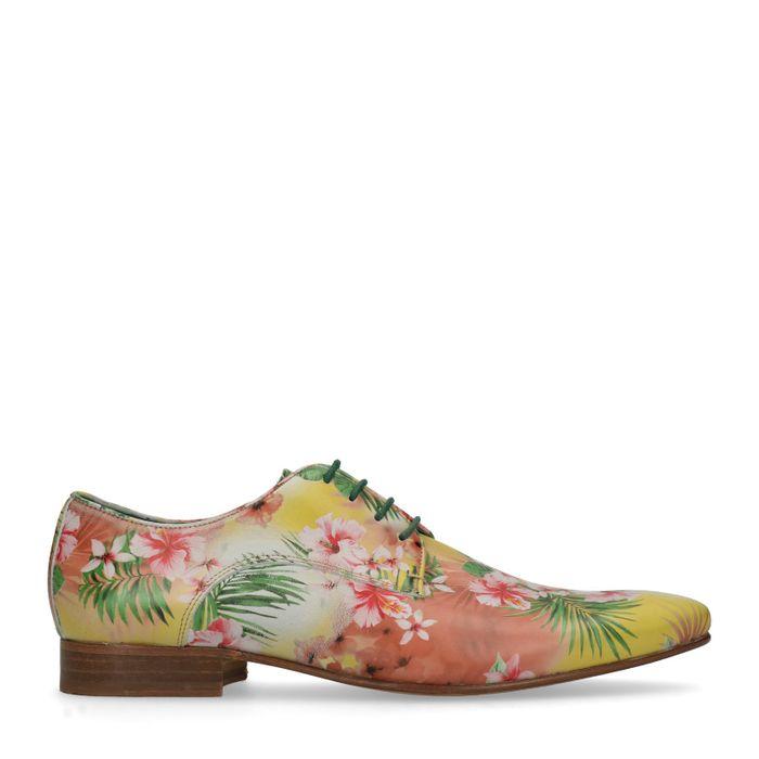 Gelbe Schnürschuhe mit Blumenmuster