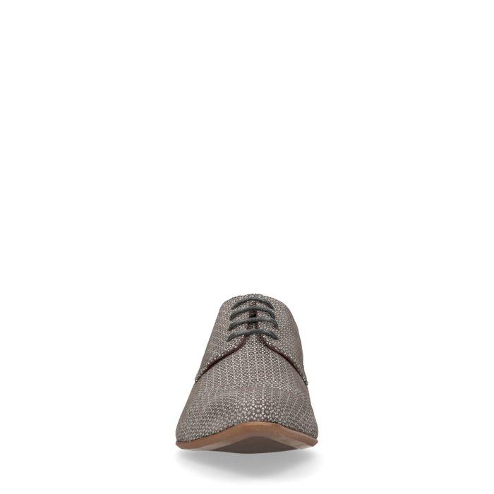 Graue Schnürschuhe mit Muster