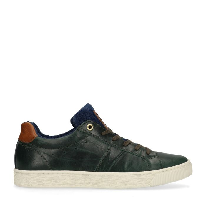 Dunkelgrüne Sneaker mit blauem Detail