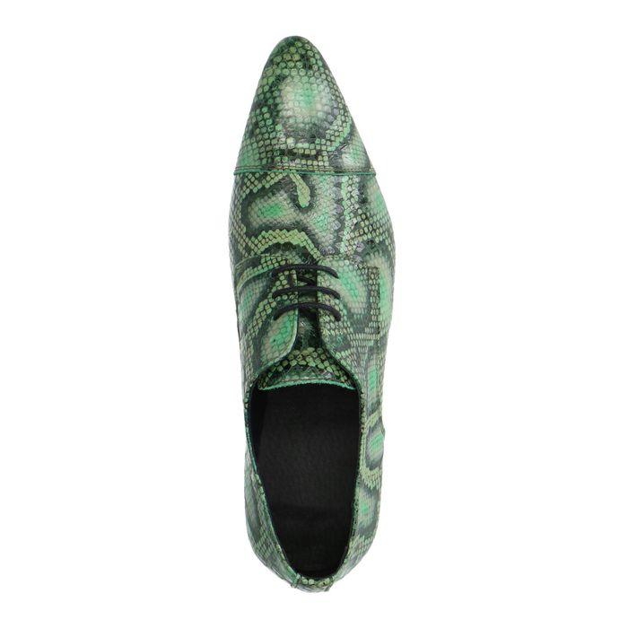 Grüne Lederschnürschuhe mit Schlangenmuster