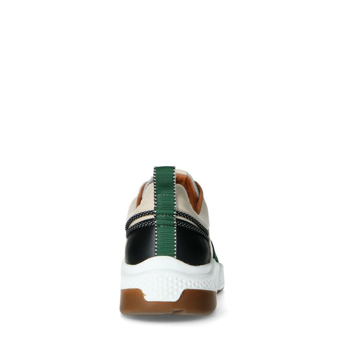 Mehrfarbige Ledersneaker mit grünem Detail