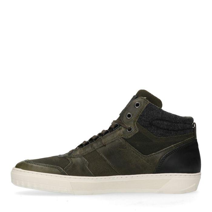 Grüne Leder-Sneaker mit hohem Schaft