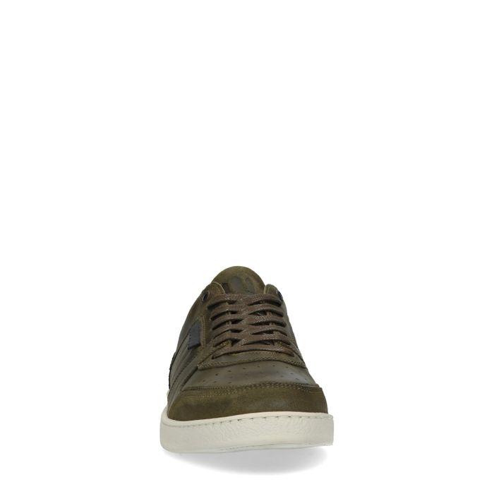 Grüne Leder-Sneaker mit farbigen Details