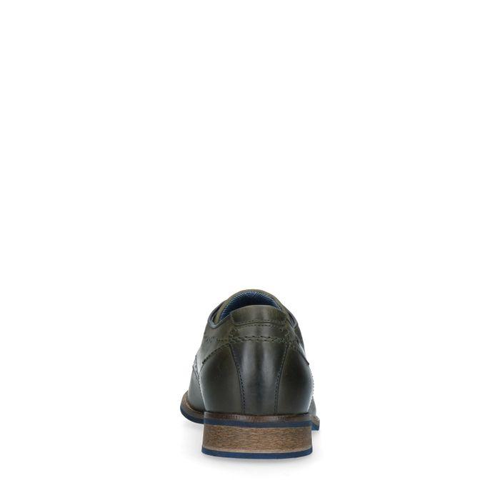 Kakigrüne Lederschnürschuhe