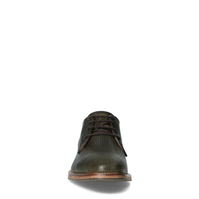 Kakigrüne Leder-Schnürschuhe