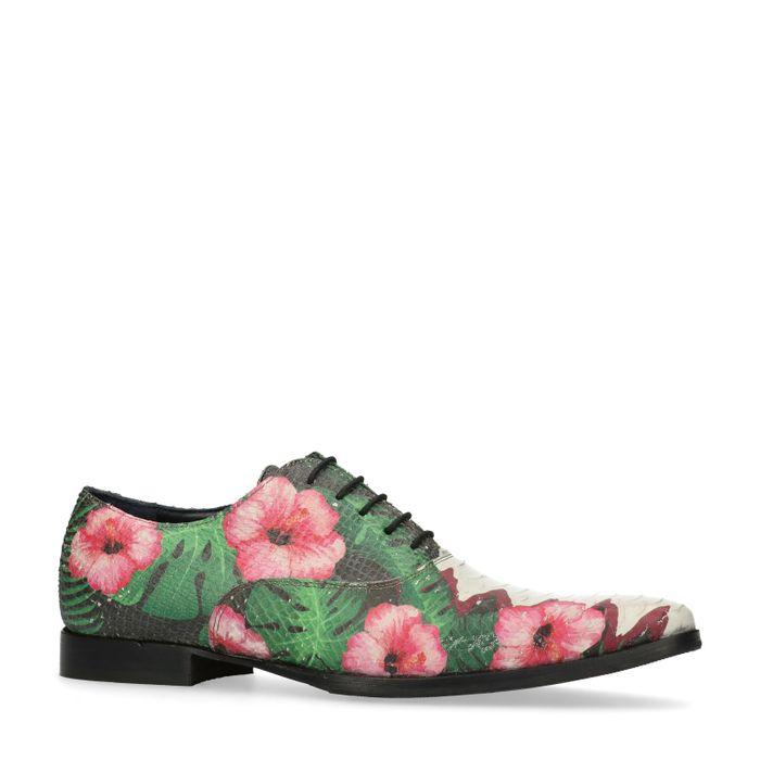 Rosafarbene Schnürschuhe mit Blumenmuster