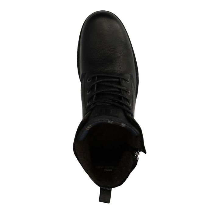 Schwarze Leder-Schnürboots