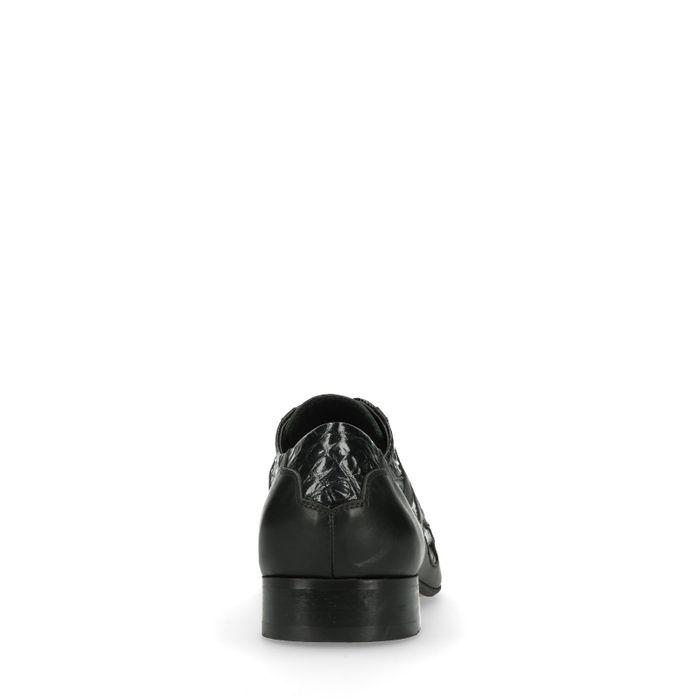 Schwarze Schnürschuhe mit Flammen-Muster