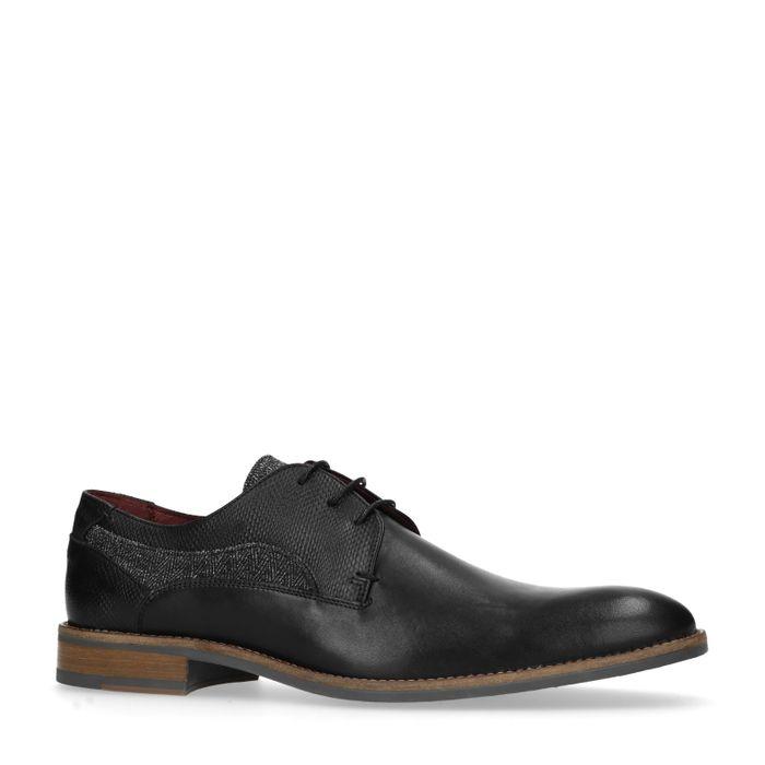 Schwarze Schnürschuhe mit Muster