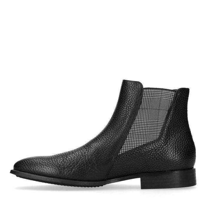 Schwarze Chelsea Boots mit Karo-Detail