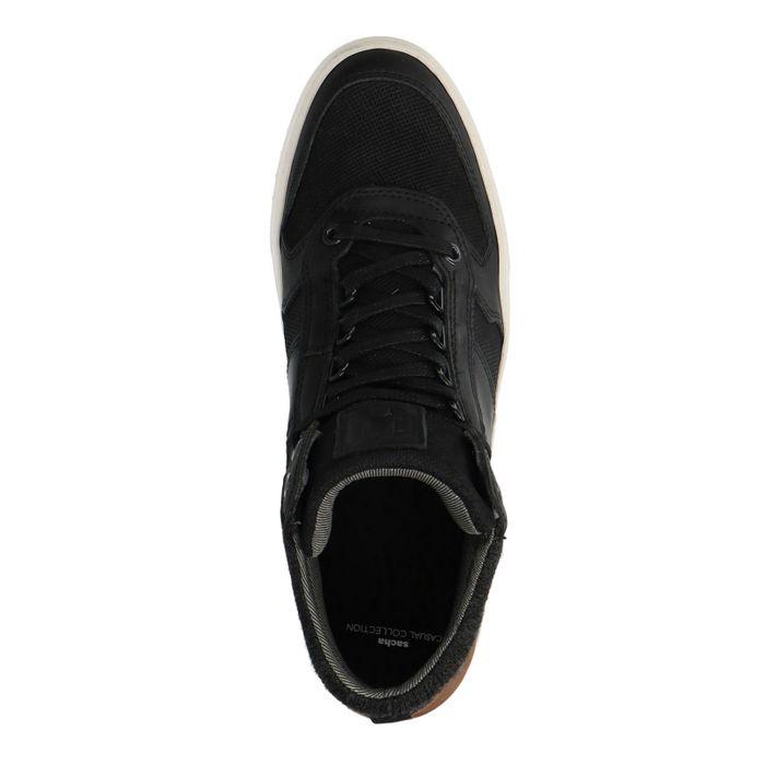 Schwarze Leder-Sneaker mit hohem Schaft