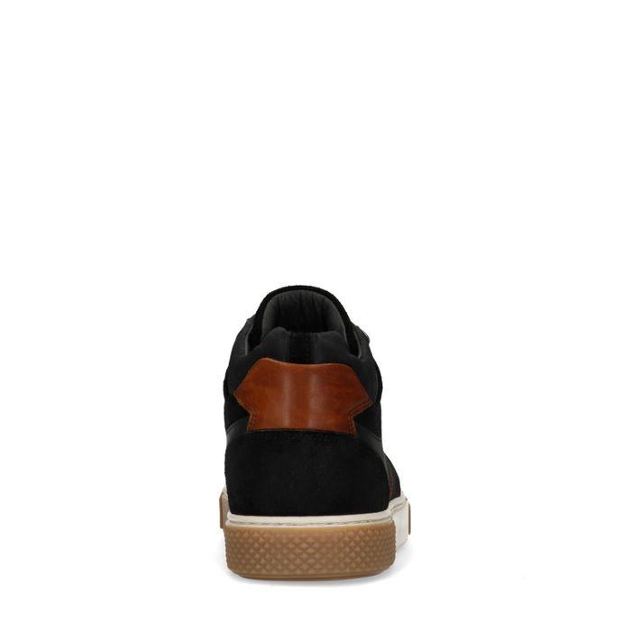 Schwarze Ledersneaker mit hohem Schaft
