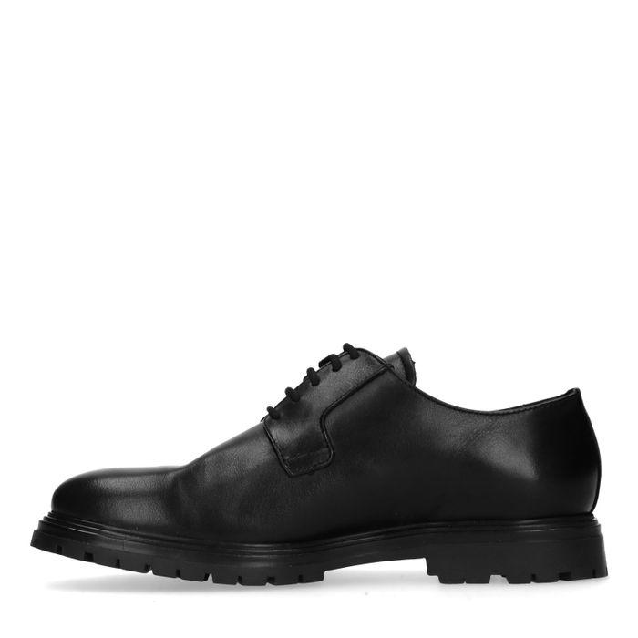 Schwarze Lederschnürschuhe