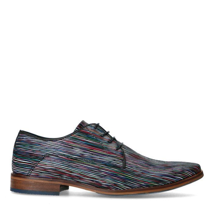 Leder-Schnürschuhe mit farbigem Print