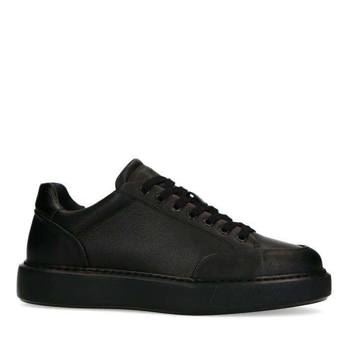 Schwarze Ledersneaker