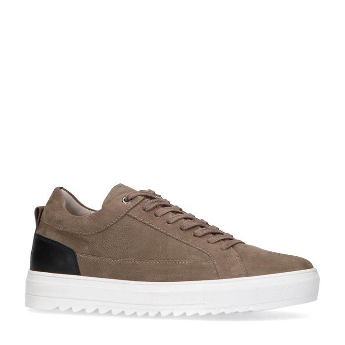 Taupefarbene Nubuk-Sneaker