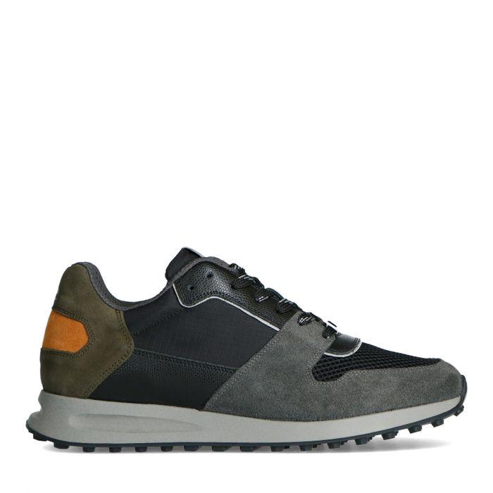 Dunkelgrüne Ledersneaker