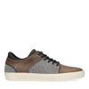 Graue Sneaker aus Leinen und Leder