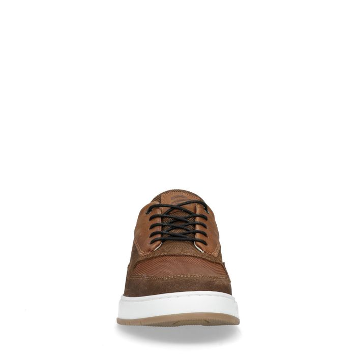 Cognacfarbene Sneaker aus Rau- und Glattleder