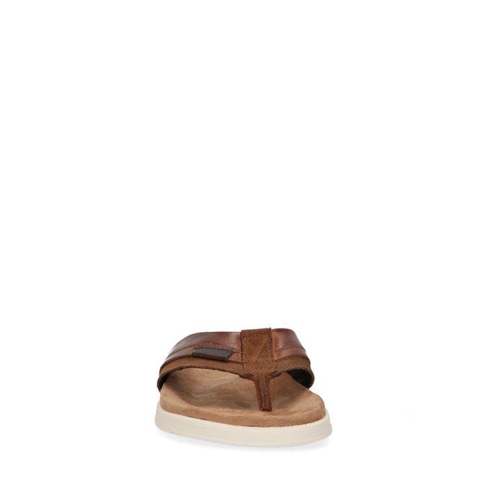 Cognacfarbene Zehentrenner aus Veloursleder