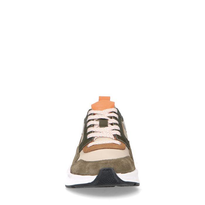 Grüne Sneaker mit farbigen Details