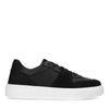 Schwarze Ledersneaker mit weißer Sohle