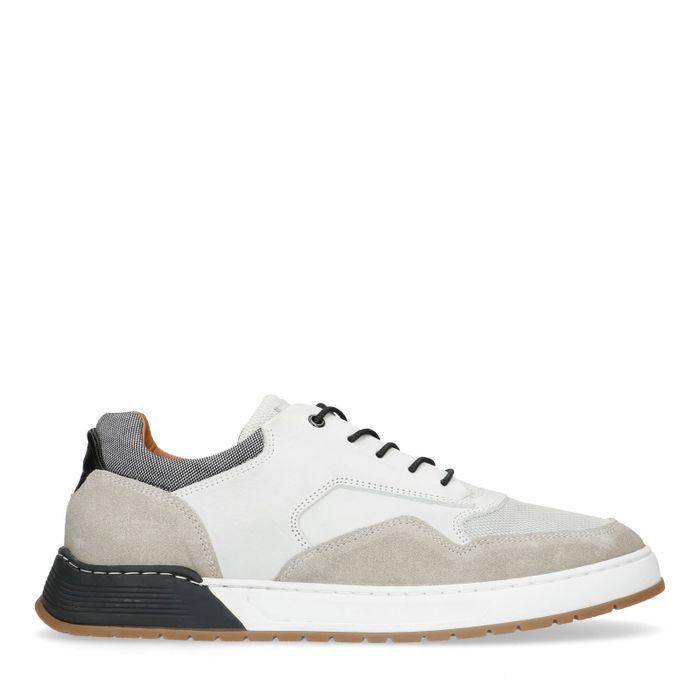 Graue Sneaker aus Rau- und Glattleder