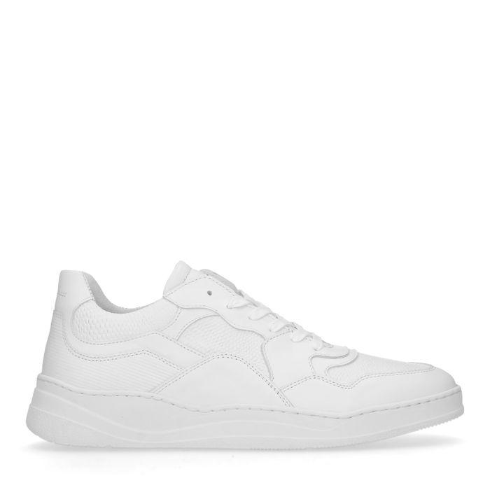 Weiße Leder-Sneaker mit kurzem Schaft