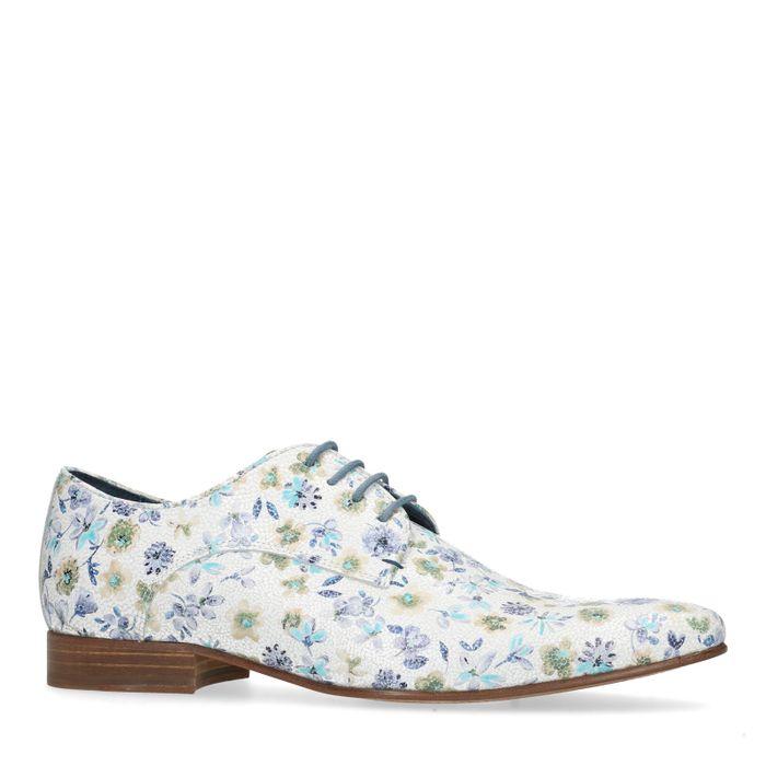 Weiße Schnürschuhe mit Blumenmuster