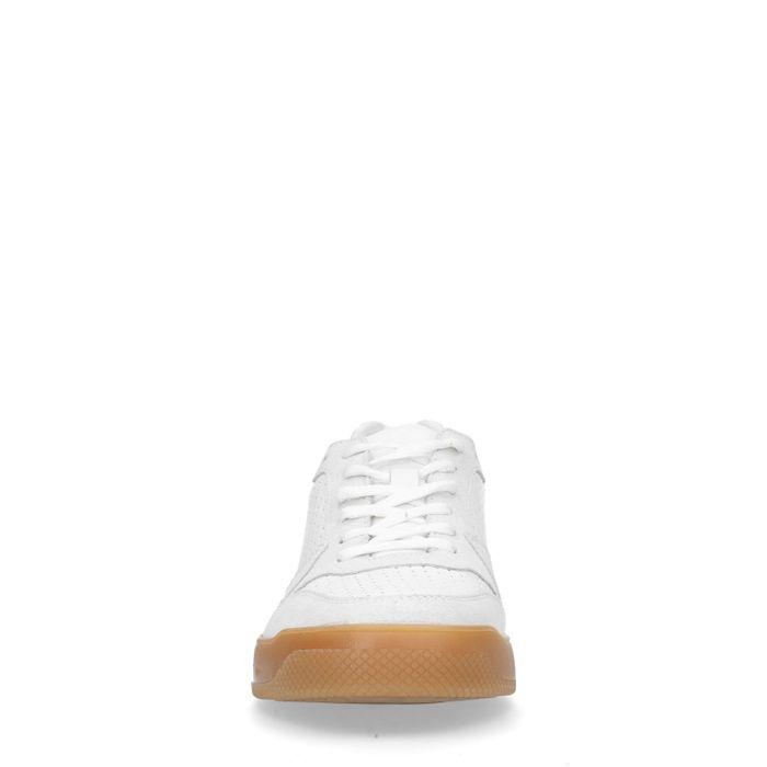 Weiße Sneaker mit naturfarbener Sohle