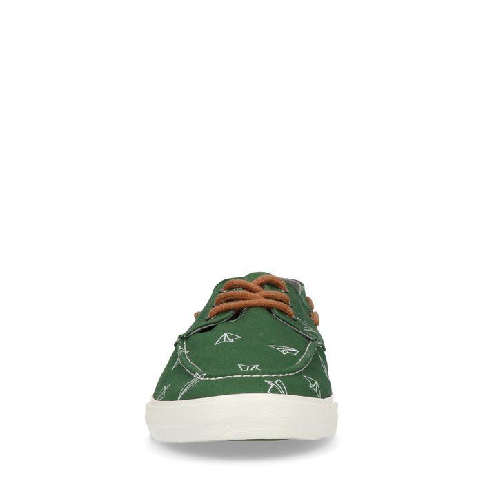 Grüne Sneaker mit Papierflieger-Aufdruck