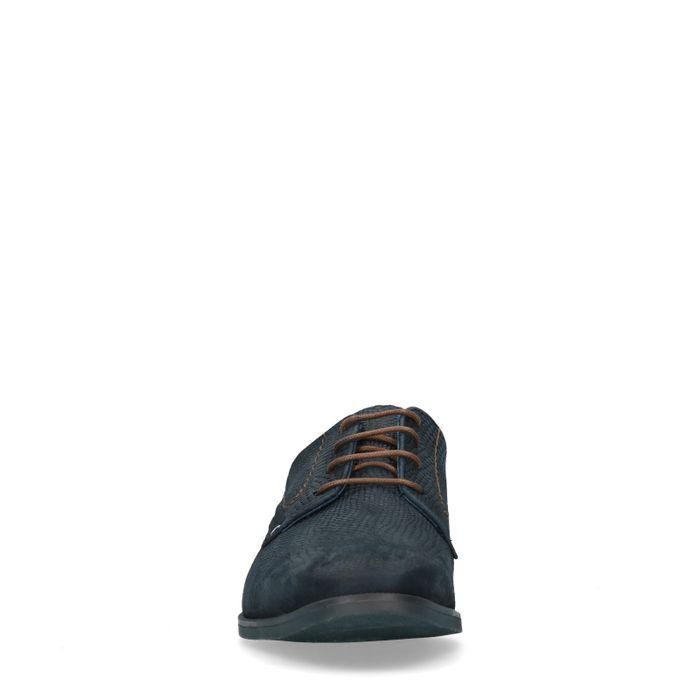 Blaue Schnürschuhe aus Nubukleder