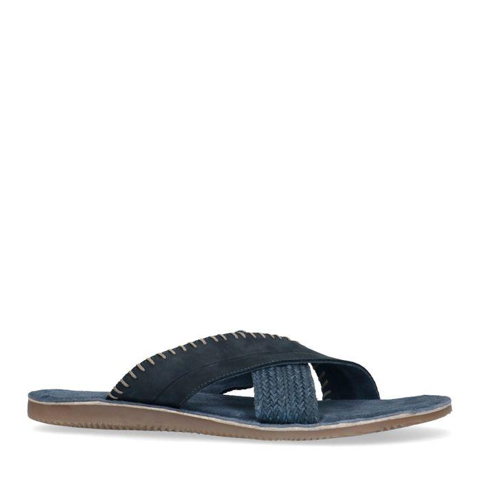 Blaue Nubuk-Sandalen