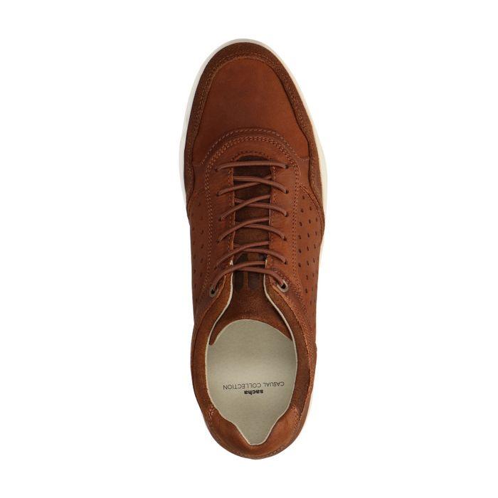 Cognacfarbene Nubuk-Sneaker