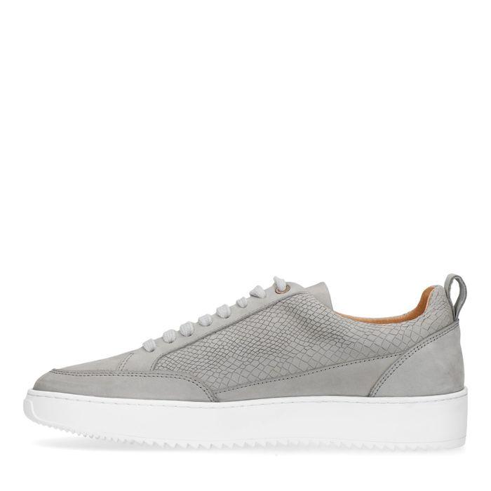 Graue Sneaker mit Krokomuster