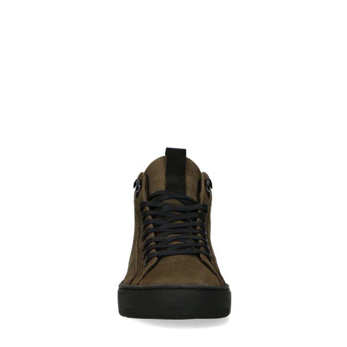 Olivgrüne Sneaker mit hohem Schaft