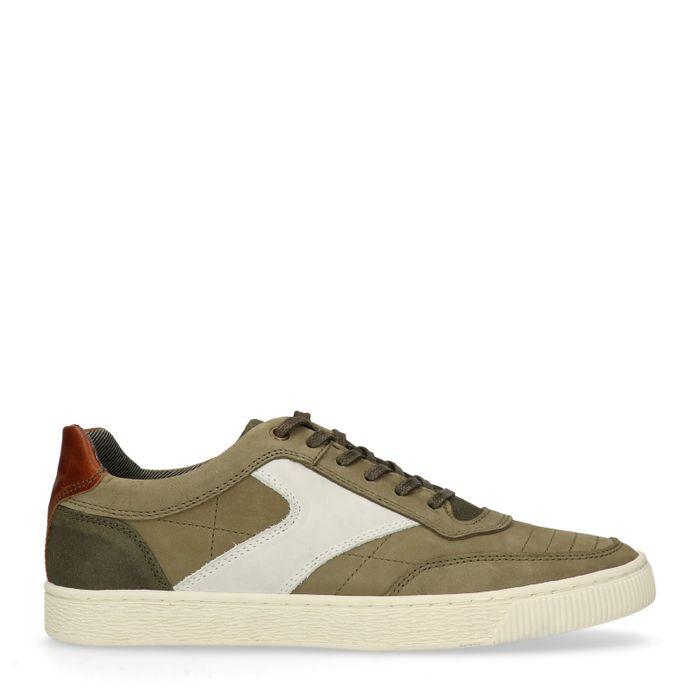 Khakifarbene Sneaker mit Details