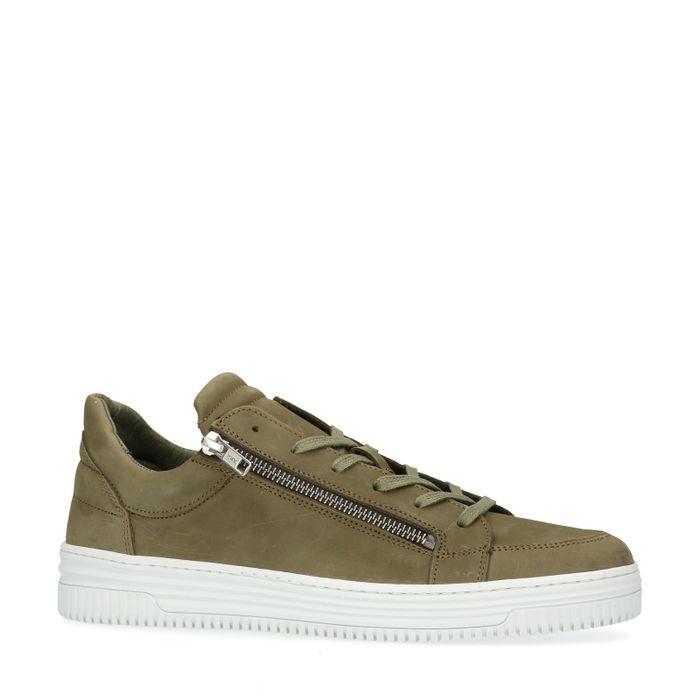 Grüne Sneaker mit Zier-Reißverschluss