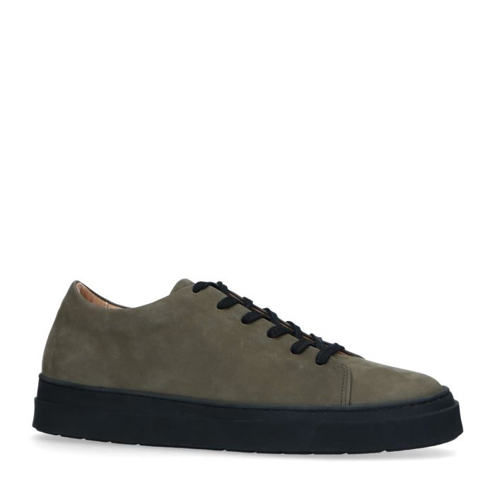 Kaki Sneaker aus Nubukleder