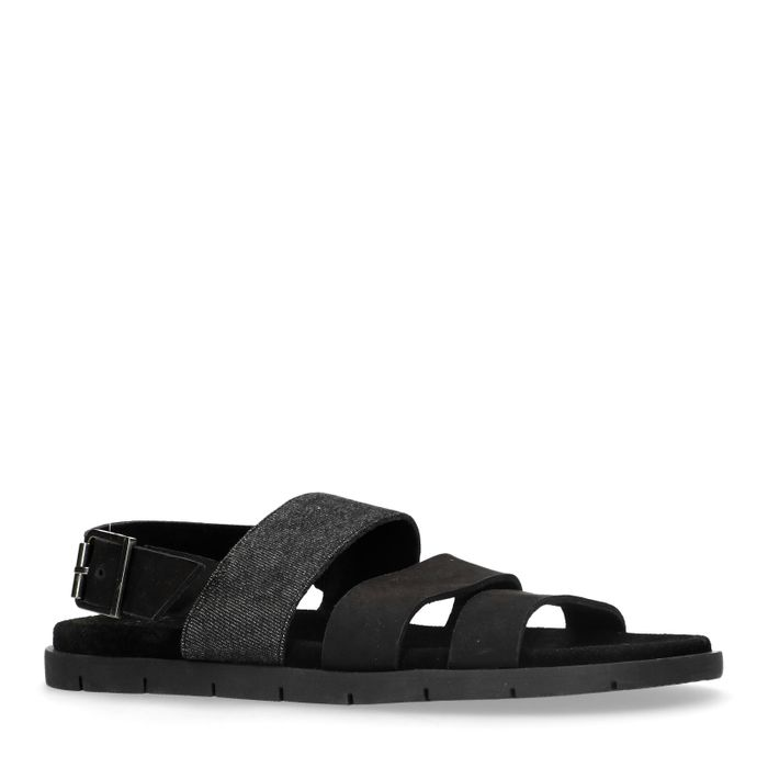 Schwarze Sandalen aus Nubukleder