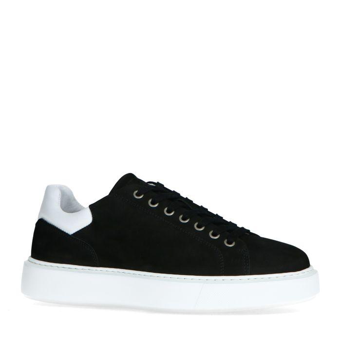 Schwarze Nubuk-Sneaker mit weißem Detail