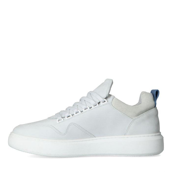 Weiße Nubuk-Sneaker mit blauem Detail