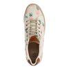 Beigefarbene Schuhe mit Muster und Jutesohle