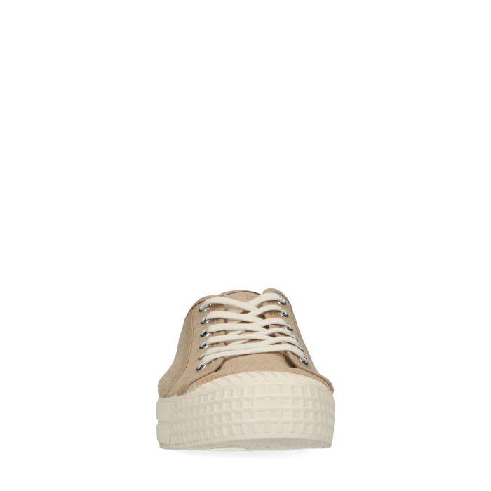 Beigefarbene Canvas-Sneaker