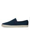 Dunkelblaue Canvas-Loafer mit gewobener Jute-Sohle