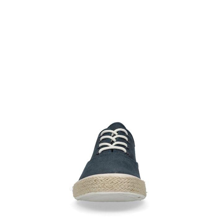 Blaue Schnürschuhe mit Jutesohle