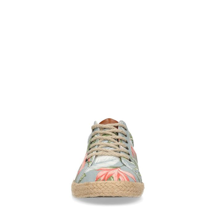 Blaue Sneaker mit Blumenmuster